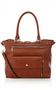 Karen Millen Pocket front Leather bag in Brown