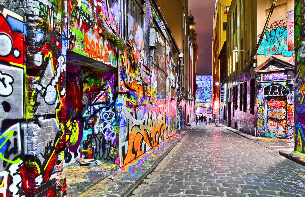 View of colorful graffiti artwork at Hosier Lane in Melbourne
